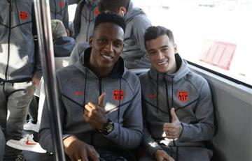 Yerry Mina ya está en Valencia con el Barcelona