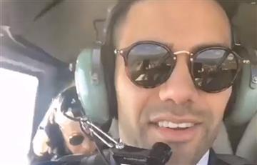 Falcao García sorprende de copiloto en un helicóptero dándole un paseo a su familia