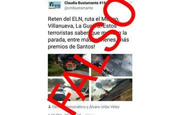 La Policía desmientes falsas imágenes de atentado del Eln, por parte de candidata uribista
