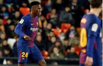 Yerry Mina fue protagonista en el encuentro con el Barcelona