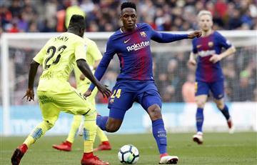 Yerry Mina titular y de buen partido en el empate del Barcelona