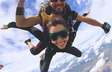 Paulina Vega venció el miedo y se lanzó en paracaídas