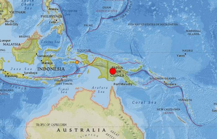 Fuerte sismo de magnitud 7,5 sacudió Papúa Nueva Guinea