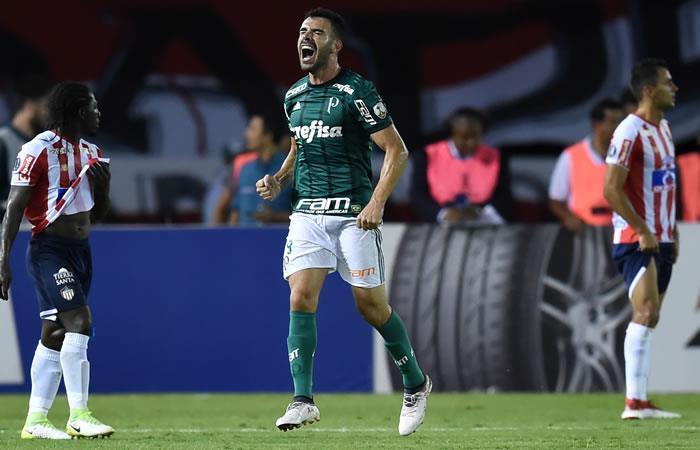 El brasileño Palmeiras Bruno Henrique celebra su gol contra el Atlético Junior de Colombia. Foto. AFP.