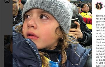 El conmovedor llanto de Salomé durante el partido de la Selección Colombia