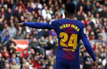 Yerry Mina titular en el empate del Barcelona ante el Celta de Vigo