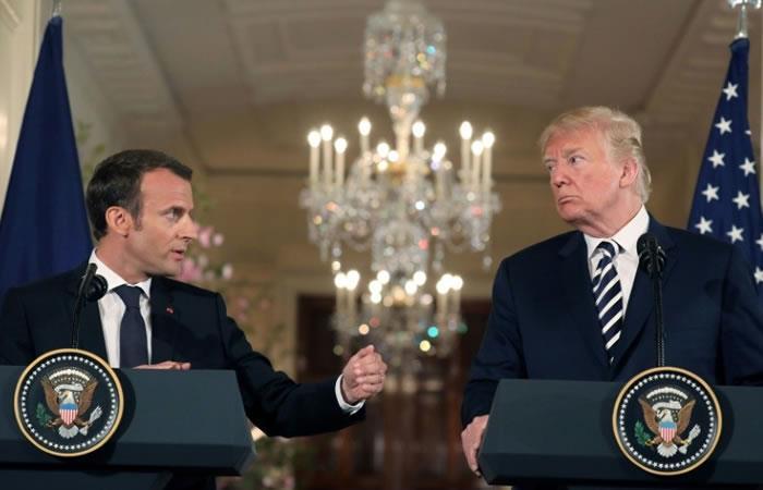 El presidente de EEUU, Donald Trump, junto a su homólogo de Francia, Emmanuel Macron, durante una conferencia de prensa en la Casa Blanca en Washington. Foto: AFP
