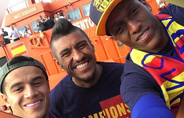 Yerry Mina más feliz que nunca en la celebración del Barcelona