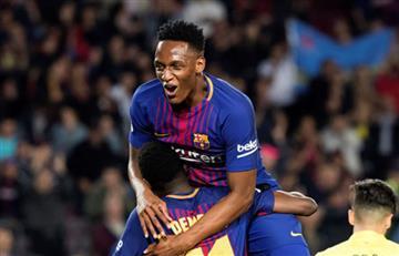 Yerry Mina: Primera asistencia del colombiano en la goleada del FC Barcelona