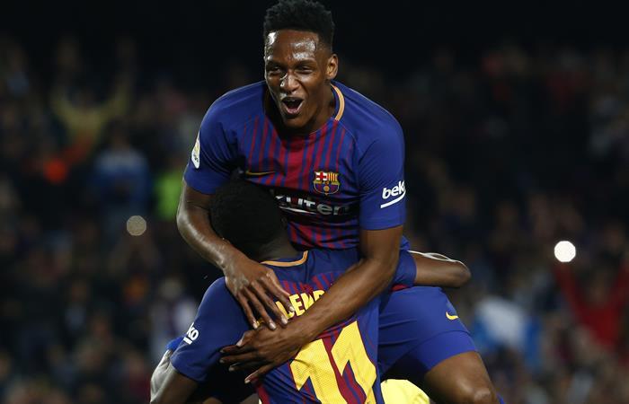 Yerry Mina nuevamente titular con el Barcelona