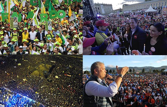 Así cerraron sus campañas los candidatos presidenciales de Colombia