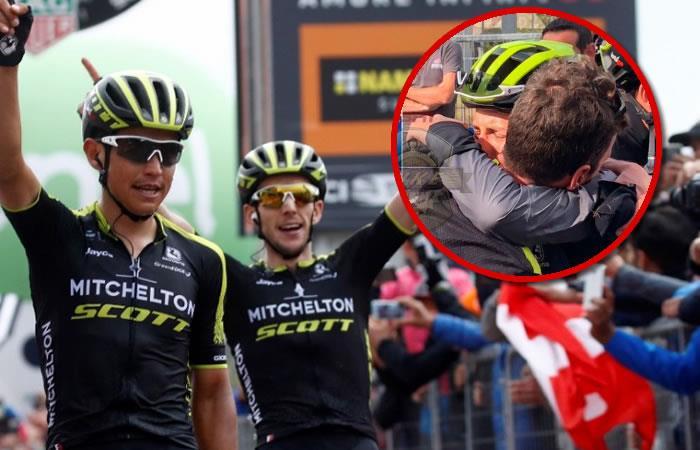 Esteban Chaves no pudo contener las lágrimas al ver que Yates perdió el liderato