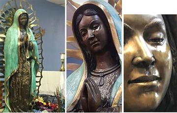 Miles visitan en Nuevo México estatua de la Virgen de Guadalupe que llora