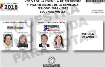 Acá podrá conocer el tarjetón electoral para la segunda vuelta presidencial