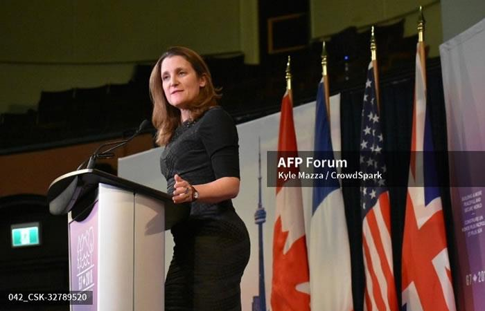La Canciller canadiense Chrystia Freeland. Foto: AFP