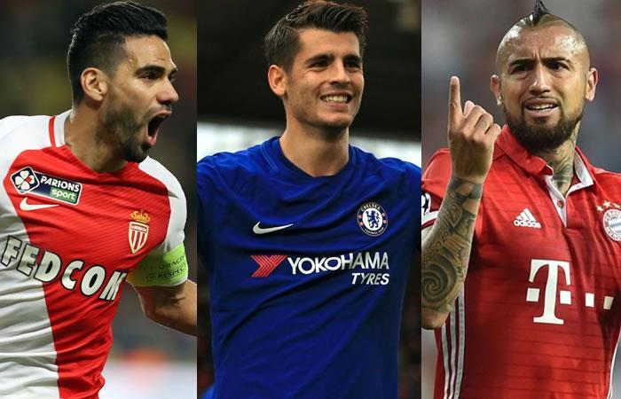 Falcao, Morata y Vidal. Fotos: AFP