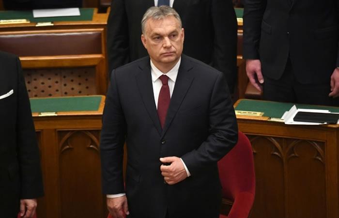 Viktor Orban, en su escaño del Parlamento húngaro. Foto: AFP