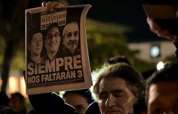 Policía encontró los cuerpos del equipo periodístico asesinado por 'Guacho'. Foto: AFP