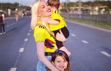 Esposa de Falcao te enseña a lucir la camiseta de Colombia