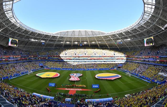 Así sonó elm himno de Colombia en el encuentro ante Senegal. Foto: AFP