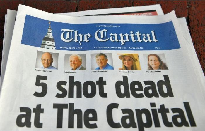La edición del periódico The Capital Gazette del 29 de junio de 2018, fotografiado en Annapolis, Maryland, Estados Unidos. Foto: AFP