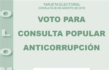 El tarjetón para la consulta anticorrupción se encuentra definido
