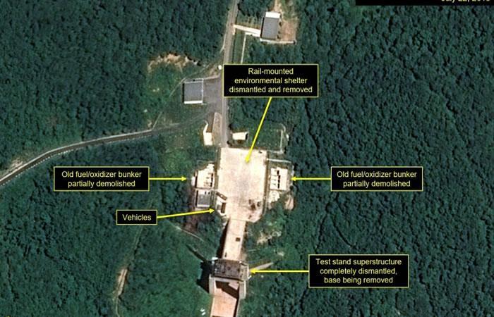 Imagen de satélite de Airbus Defensa y Espacio y 38 North del 22 de julio de 2018 que muestra desmantelamiento de un centro de lanzamiento de satélites en Sohae, Corea del Norte. Foto. AFP.
