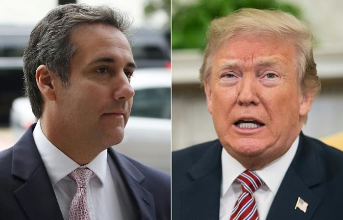 El presidente de Estados Unidos Donald Trump y su abogado personal por mucho tiempo Michael Cohen. Foto. AFP.