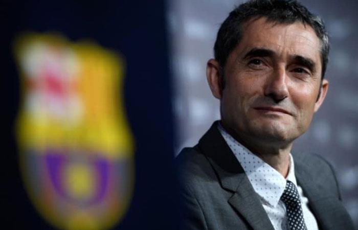 Ernesto Valverde, DT de Barcelona. Foto: AFP