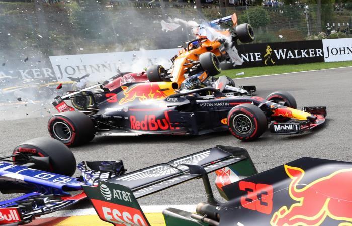 Así fue el choque de Fernando Alonso en el GP de Bélgica