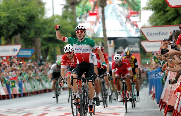 Elia Viviani, ganador de la tercera etapa de la Vuelta a España 2018. Foto: EFE