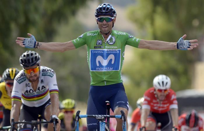 Alejandro Valverde se llevó la victoria en la octava etapa de la Vuelta a España. Foto: AFP
