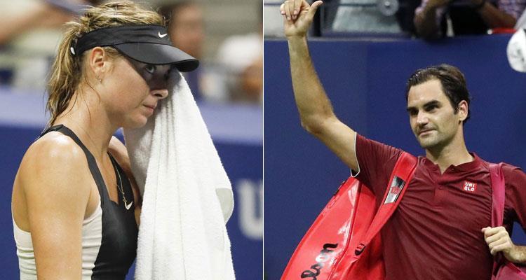 María Sharapova y Roger Federer le dicen adiós al US Open. Foto: EFE
