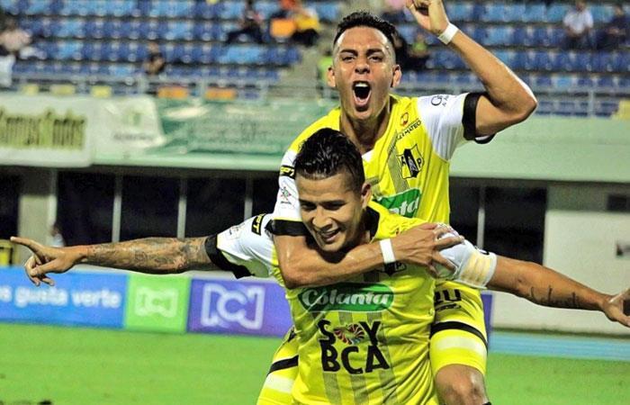 Alianza Petrolera celebra su victoria ante Millonarios. Foto: twitter Alianza Petrolera
