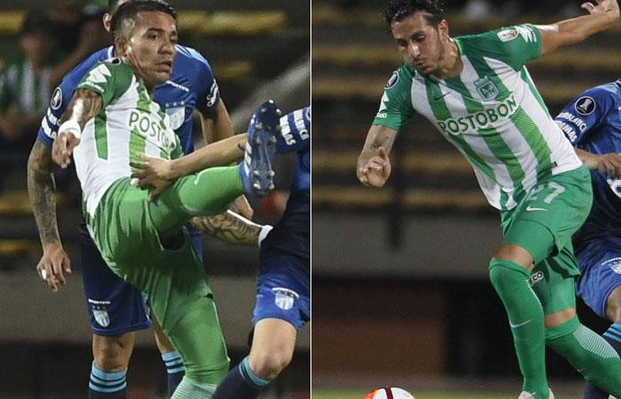 Dayro Moreno y Gonzalo Castellani, jugadores de Atlético Nacional. Fotos:AFP. Foto: EFE