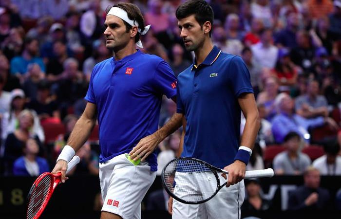 Federer y Djokovic perdieron en en su partido de dobles en la Laver Cup. Foto: AFP