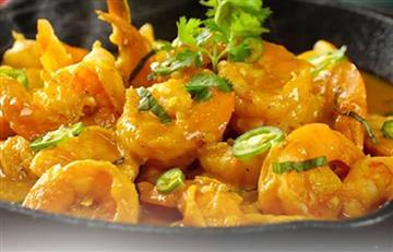 Camarones en salsa cremosa de coco