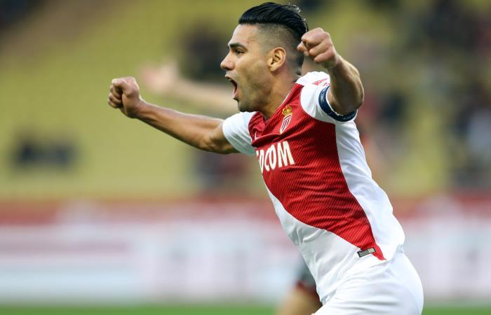 Falcao García celebra su gol con Mónaco. Foto: AFP