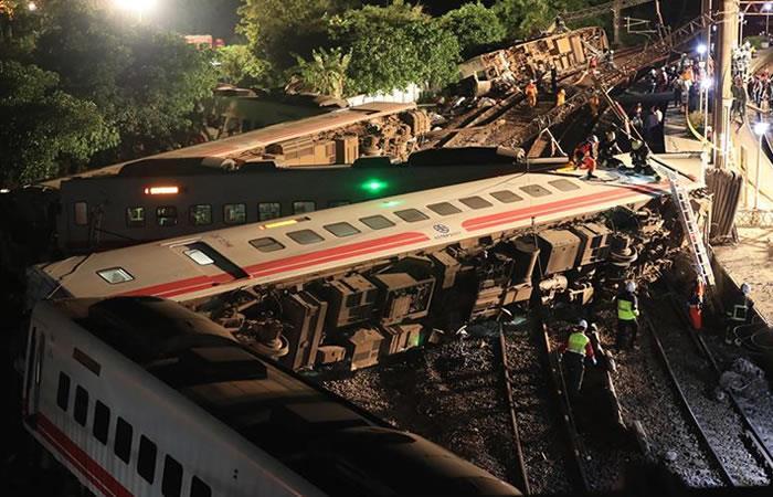 Así fue el grave accidente de tren en Taiwán