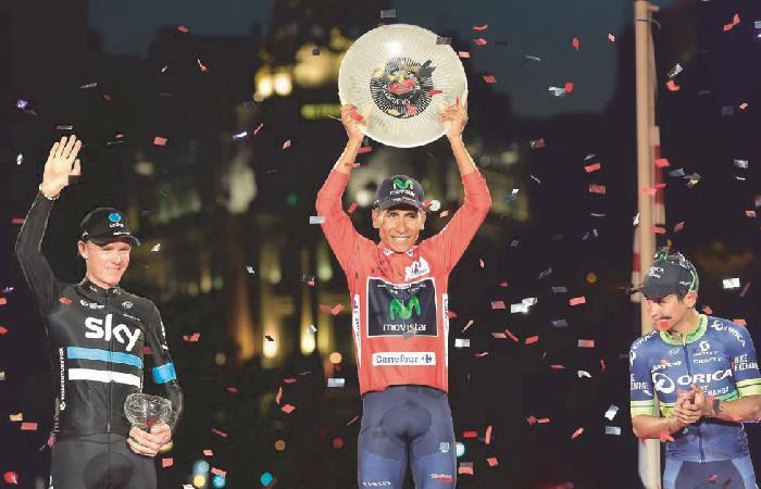 Nairo Quintana se coronó campeón de La Vuelta España 2016. Foto: AFP