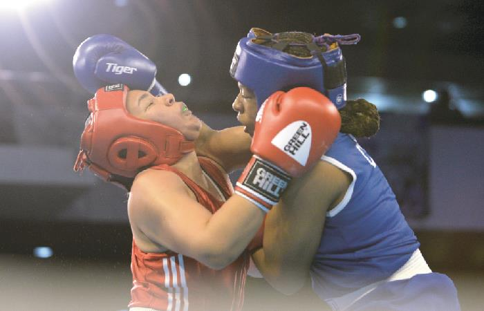 Jessica Caicedo durante el Mundial de Boxeo. Foto: AFP