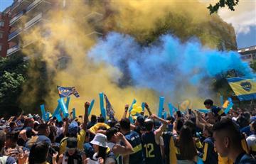 Copa Libertadores: [VIDEO] Así fue el 'banderazo' de los hinchas de Boca previo a la final