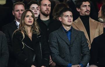 [FOTOS Y VIDEO] James Rodríguez y su 'compañera' se robaron las miradas en el Bernabéu