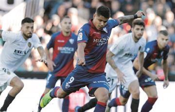 Juan Camilo Hernández mostró su enojo por la derrota de Huesca ante Valencia
