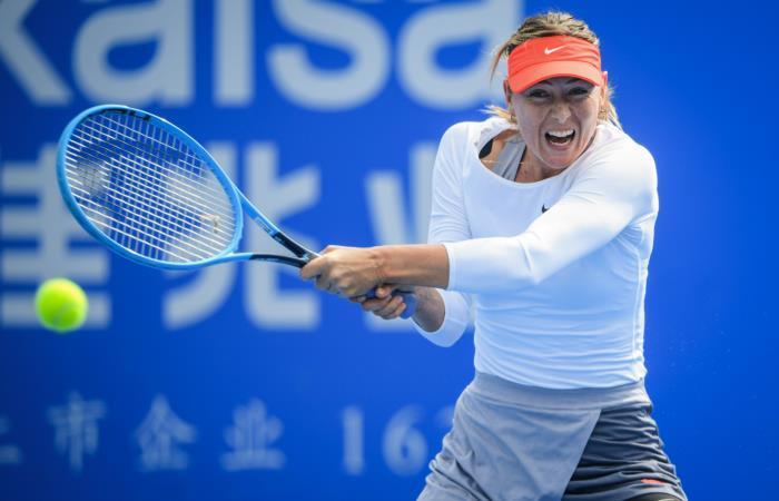 María Sharapova en su partido de octavos de final del Abierto de Shenzhen. Foto: AFP