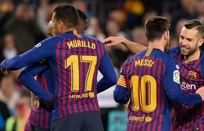 Jeison Murillo celebra la victoria ante Levante. Foto: AFP