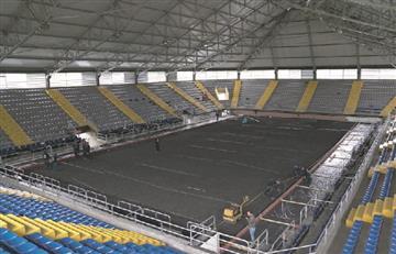El Palacio de los Deportes se 'baña' en polvo de ladrillo