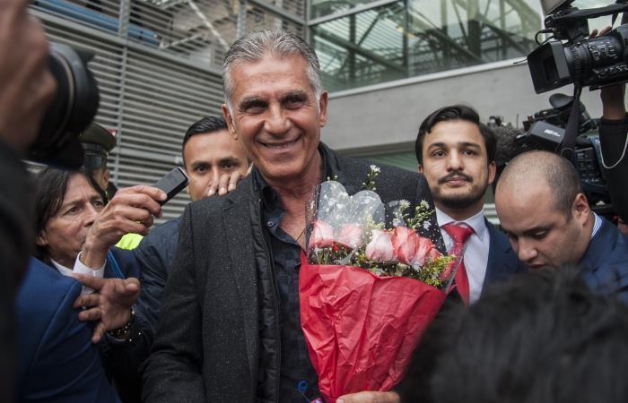 Carlos Queiroz en su llegada a Colombia.com. Foto: AFP