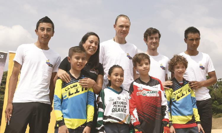 Tour Colombia 2.1: Chris Froome y Mariana Pajón compartieron con niños de Medellín