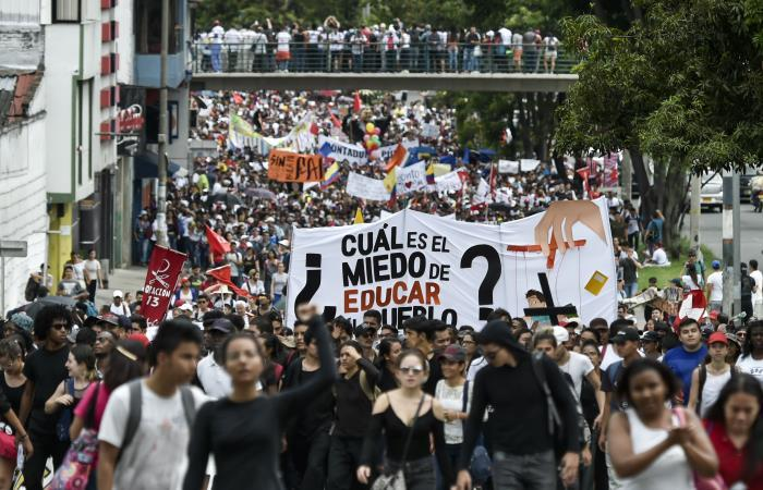 Marchas en Bogotá. Foto: AFP